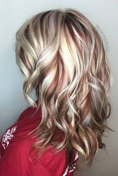 Image result for blonde hair with red highlights