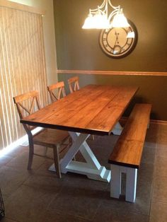"""James+James: Trestle Table, 8' x 37"""" x 30"""", Early American Top with Ivory Base. No Apron. Matching Farmhouse Bench. X - Back Chairs ( All Stained Early American.)"""