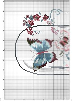 Butterfly Cross Stitch, Cross Stitch Flowers, Embroidery Stitches, Embroidery Patterns, Counted Cross Stitch Patterns, Cross Stitching, Beading Patterns, Sewing Projects, Crafts