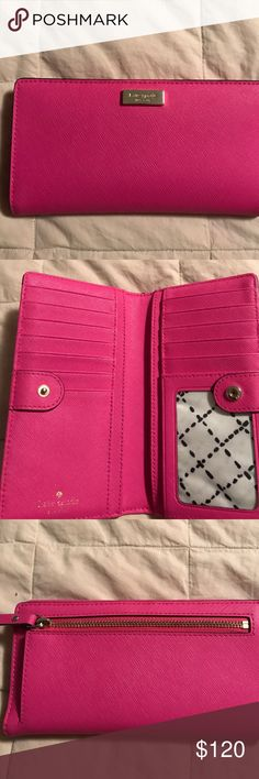 """kate spade Hot Pink Snap Closure Wallet Great wallet!!! Super fun 🌺 hot pink 🌺 spring color. Double wallet with lots of organizing action! Zipper close pouch on back. Four separators inside with room for at least 12 cars plus ID. Signature kate spade gold bar logo on front and fold stamp on inside. Closed dimensions are 7"""" x 3 1/2"""" (just big enough for checks) and opens to 7"""" wide. Snap closure will allow for 1"""" expansion. Like new. Maybe carried once. No flaws or stains. kate spade Bags…"""