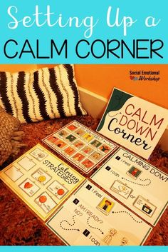 A calm corner are great tools in the classroom to improve student self regulation, manage behavior, and build social emotional skills. Self Regulation Strategies, Emotional Regulation, Calm Classroom, Future Classroom, Classroom Ideas, Relation D Aide, Calm Down Corner, Calming Activities, Behavior Interventions