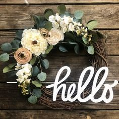 Greet every guest that comes to your door with a warm hello. Featuring an assortment of lush faux eucalyptus, peonies, rose blooms, and trailing florals, this is the perfect wreath for transitioning b Christmas Mesh Wreaths, Deco Mesh Wreaths, Holiday Wreaths, Floral Wreaths, Winter Wreaths, Prim Christmas, Diy Spring Wreath, Diy Wreath, Tulle Wreath