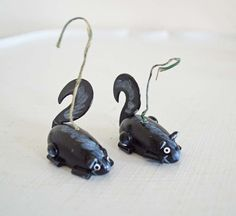 Vintage Wood Christmas Ornament Skunk Pair Black by mothrasue, $5.00