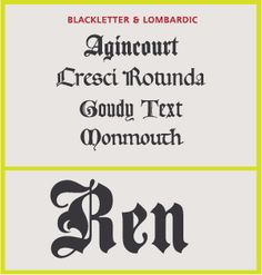 Script Type Style Category: Blackletter & Lombardic (four examples). Both these related categories of script typefaces are patterned on manuscript lettering prior to the invention of movable type.