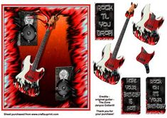 Red Hot Rock  on Craftsuprint designed by Janyce Cotterill - Great looking card for any male, young or old! Guitar and speakers surrounded in hot flames. The guitar has decoupage elements to it. The greetings are sized and designed to fit above right hand speaker/amplifier. However you might have your own ideas or own greetings to put where you wish. I left the card blank so you have the creativity to do as you wish. Greetings say, ROCK 'TIL YOU DROP! HOPE YOUR BIRTHDAY IS HOT, ROCK ON IT'S…