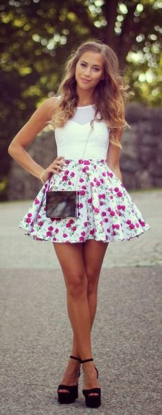 floral mini skirt + white crop top
