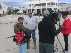CBS News crew works with DCI to cover Sandy on Long Beach Island, NJ. @dciteleport
