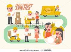 Delivery service - info graphics - Smiling, young man, postal, delivery, girl, man, customers - Vector Illustration