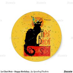 #LeChatNoir - Happy #Birthday Greetings Sticker by #SpoofingTheArts #Gravityx9 #Zazzle -