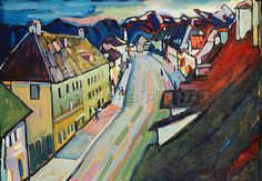 Murnau - Obermarkt by Wassily Kandinsky Kandinsky Art, Wassily Kandinsky Paintings, Statues, Moon Art, City Art, Klimt, Types Of Art, Famous Artists, Museum