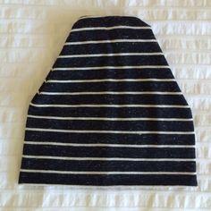 Baby/toddler slouchy beanie black cream stripe on Etsy, $12.00 CAD
