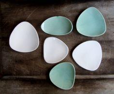 Ceramic Plates Handmade set of  6 Turquoise Blue &  by bininaor