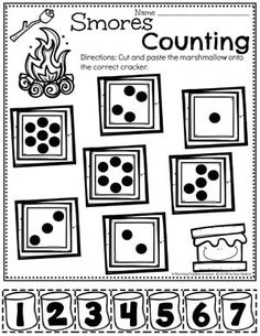 Counting Worksheets for Preschool - Dot Counting Activity Camping Theme Name Activities Preschool, Camping Activities For Kids, Preschool Learning Activities, Preschool Worksheets, Preschool Activities, Summer Worksheets, Vocabulary Activities, Free Preschool, Camping Dramatic Play