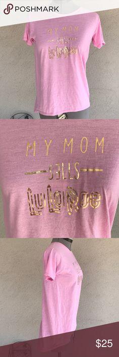 Lularoe my mom sells lularoe shirt pink gold sz 12 Wore once  Super cute and comfy  Nice gold lettering LuLaRoe Shirts & Tops Tees - Short Sleeve