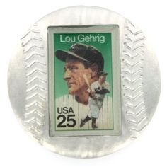 Lou Gehrig Genuine US Postage Stamp Baseball Paperweight