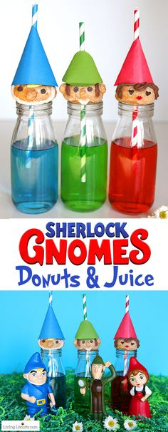 Cute no-bake Gnome Donuts to celebrate Sherlock Gnomes a family friendly movie in theaters March Learn how to make this easy fun food recipe that's a perfect idea for a woodland, fairytale, garden or gnomes party. Birthday Party Treats, Boy Birthday Parties, Activities For Kids, Crafts For Kids, Decorator Frosting, Donuts, Recipe Doughnuts, Colorful Drinks, Party Themes