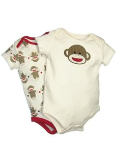 2 Pack of Sock Monkey Onesie Bodysuits by Baby « Clothing Impulse