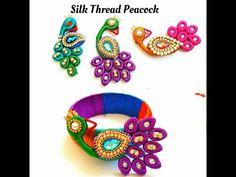 How To Make Silk Thread Peacock |For silk thread bangles\pendants|Quilling paper base - YouTube