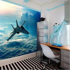 Fotobehang straaljager | Maak het jezelf eenvoudig en bestel fotobehang voorzien van een lijmlaag bij YouPri om zo gemakkelijk jouw woonruimte een nieuwe stijl te geven. Voor het behangen heb je alleen water nodig!   #behang #fotobehang #print #opdruk #afbeelding #diy #behangen #vliegtuig #straaljager #hemel #vliegen #lucht #luchtruim