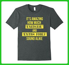 Mens Exercise and Extra Fries Sound Alike - Funny Gym T Shirt 3XL Dark Heather - Workout shirts (*Amazon Partner-Link)