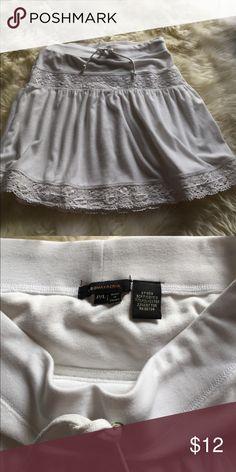 Bcbg max azaria white terry cloth skirt. Bcbg max azaria white terry cloth skirt.  Great for summer. White lace bands. Drawstring. BCBGMaxAzria Skirts