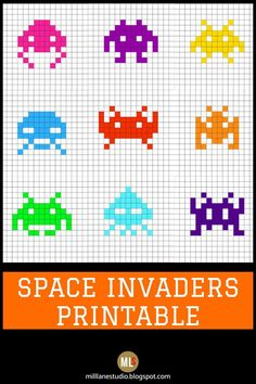 Are you into geek crafts? Download this Space Invaders template to use in your crafts. It's great for any craft that uses pixels to create the pattern. In this tutorial, the pixels are used to create the aliens for resin coasters. Just use a square silicone trivet from the dollar store to pour the resin into and follow the template to make each alien. Then embed in resin for a truly geeky coaster! #MillLaneStudio #dollarstorecrafts #diyresincoaster #freeprintables #pixelarttemplate…