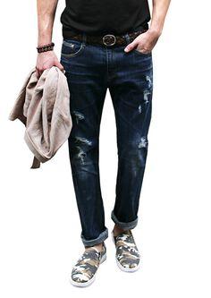 Doublju Mens Casual Loose Fit Distressed Denim Jeans #doublju