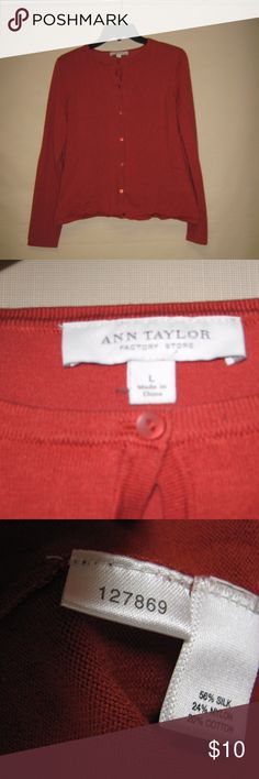 Ann Taylor Factory Burnt Orange Cardigan Silk-blend burnt orange cardigan from Ann Taylor factory. Size L, but fitted-style. Slightly wrinkled from storage. Smoke free, pet free home, offers welcome! Ann Taylor Factory Sweaters Cardigans