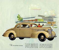 Oldsmobile Six Business Coupe 1937 - Mad Men Art: The Vintage Advertisement Art Collection Vintage Advertisements, Vintage Ads, Buick, Oldsmobile Toronado, Car Brochure, Car Illustration, Illustrations, Ad Art, Train Car