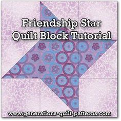 Sew Block Quilt Learn to make a Friendship Star quilt block. Instructions included for 5 sizes. One of many blocks in our Free Quilt Block Patterns Library. - The Friendship Star quilt block is ideal for the beginning quilter-just half square triangles Star Quilt Blocks, Star Quilt Patterns, Star Quilts, Easy Quilts, Pattern Blocks, Block Quilt, Flag Quilt, Quilting Tips, Quilting Designs