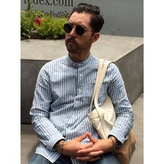 stillnothingmovesu: Brian Kanagaki - Awesome tab collar shirt, collarless is going to be my go to for AW.