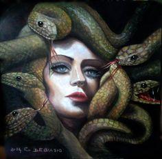 Donna Medusa  50x50  olio  su  tela  di  cristina  de  biasio  (venduto)