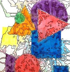 Art Projects for Kids: Geometric to Organic -Trace geometric shapes using cardboard templates, color with water based markers, drop puddles of water on artwork, then trace the organic shapes created with thin black Sharpies.