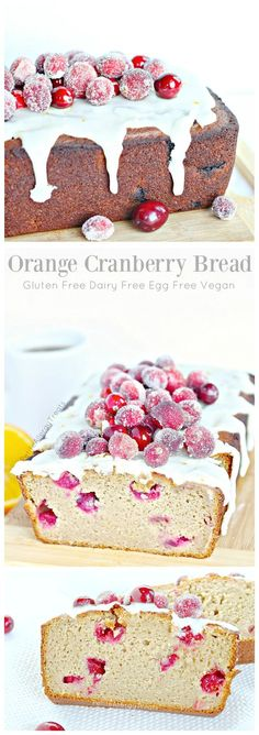 Gluten Free Orange Cranberry Pound Cake (dairy free Vegan egg free) Beautiful easy sparkling cranberries adore this super moist bread! #tothefullest