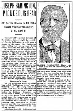 """A newspaper article about Joseph Babington, an early Idaho pioneer, published in the Idaho Statesman (Boise, Idaho), 30 April 1922. Read more on the GenealogyBank blog: """"The Story of Pioneer Joseph Babington Found in an Old Obituary"""""""