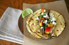 Flank Steak Tacos with Grilled Peach Salsa