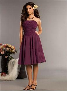 A-line Strapless Sparkly Purple Ruffles Chiffon Sleeveless Knee-length Bridesmaid Dress Newcastle