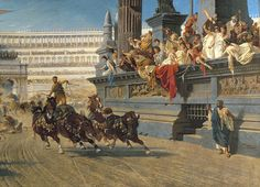 The chariot race - Alexander von Wagner  (April 16, 1838 – January 19, 1919), a Hungarian painter. He entered the Academy of Fine Arts at Vienna. From 1869 to 1910 he was professor in history painting at the Munich Academy. His themes were history paintings and Hungarian life scenes in particularthemaskedlady.blogspot.com