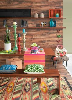 Brights on timber lounge design