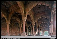 Arches in Diwan-i-Am, Red Fort. New Delhi, India (color)