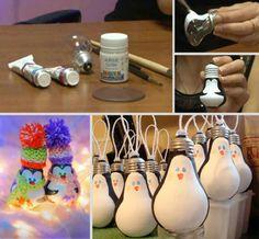 Super Idee zum Selbermachen. Aus alten Glühlampen Weihnachts-Pinguine machen