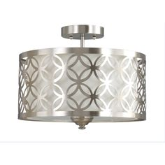 Shop allen + roth Earling 15-in W Brushed Nickel Fabric Semi-Flush Mount Light at Lowes.com