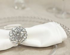 5 Crystal Peony Napkin Rings, Simply Elegant for Wedding and Special Events