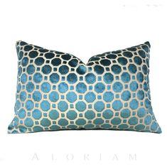 Robert Allen Teal Blue Green Cut Velvet Geometric by Aloriam