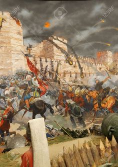 Picture of Final assault and the fall of Constantinople in Captured by Mehmet. Diorama in Askeri Museum, Istanbul, Turkey stock photo, images and stock photography. Siege Of Constantinople, Warrior Paint, Biblical Art, Byzantine Art, Medieval Knight, Islamic Pictures, Ottoman Empire, Military Art, Horse Art