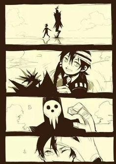 Lord Death, Death The Kid, father, son, cute, smiling, happy, side by side, walking; Soul Eater
