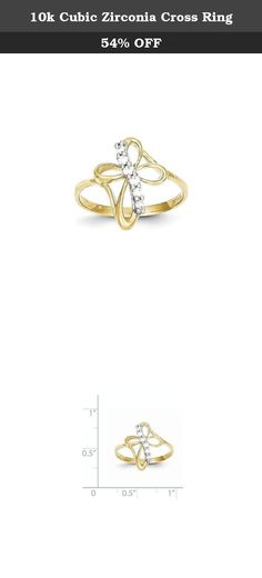 10k Cubic Zirconia Cross Ring. Material: Primary - Purity:10K Stone Type_1:Cubic Zirconia (CZ) Stone Color_1:White Material: Primary:Gold Stone Treatment_1:Synthetic Width of Item:1 mm Product Type:Jewelry Jewelry Type:Rings Sold By Unit:Each Material: Primary - Color:Yellow Ring Type:Themed Ring Top Length:16 mm Stone Creation Method_1:Synthetic .