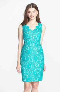 Sleeveless Turquoise Lace Dress
