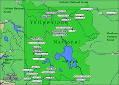 Map of WaterFalls in Yellowstone National Park