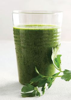 1/2 cup...packed parsley/leaves/stems  4kale leaves..rib removed  1 cup favorite berries  1banana  1tsp ground flax seed    Put all in blender and mix with 1 cup water or  more to desired thickness....yumm